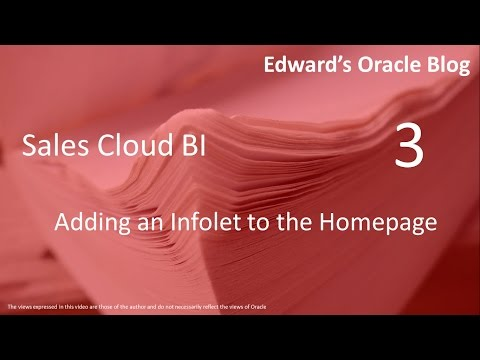 Sales Cloud - Adding An Infolet To The Homepage