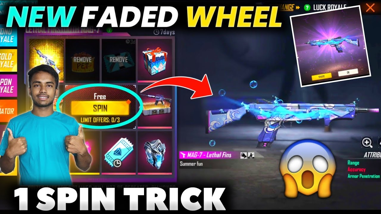 FREE FIRE NEW FADED WHEEL || FADED WHEEL FREE FIRE 1 SPIN TRICK || HOW TO GET NEW MAG-7 SKIN