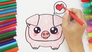 How to Draw a Cute Pig - Cute and Easy | BoDraw
