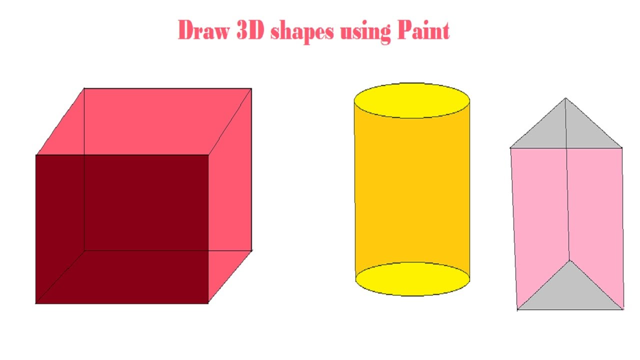 3d Shapes   3d Drawing   HOW TO DRAW 3D SHAPES USING PAINT - YouTube