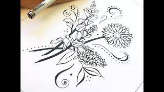 Flower Drawing - Nicky Kumar Art