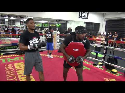 Undefeated Thomas Hill padwork inside Mayweather Boxing Club