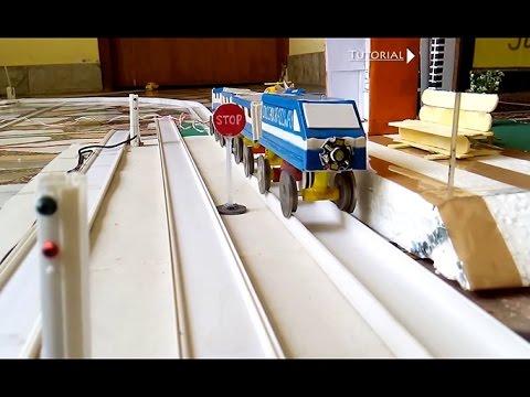 How to make a train tracks platform signal lights - YouTube