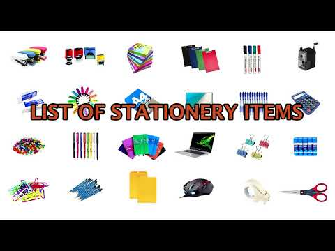 List of Stationery Items Vocabulary with Images