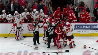 gotta see it chaotic bench brawl erupts between flames and red wings