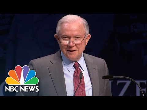 Jeff Sessions Laughs As Students Chant 'Lock Her Up' During Speech | NBC News