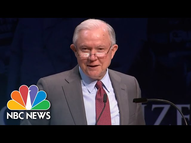 Jeff Sessions Laughs As Students Chant Lock Her Up During Speech   NBC News
