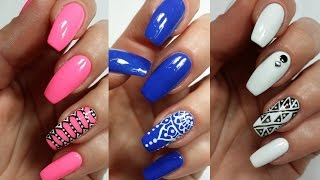 3 Easy Accent Nail Ideas! Freehand (Khrystynas Nail Art)