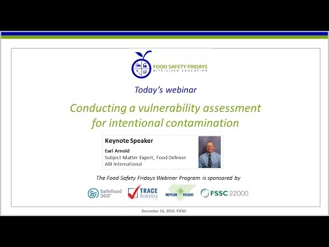 Conducting a vulnerability assessment for intentional contamination