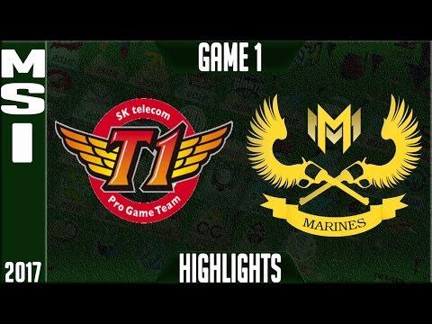 SKT T1 vs GIGABYTE Marines Highlights - MSI 2017, Mid Season Invitational Day 1 Groups - SKT vs GAM