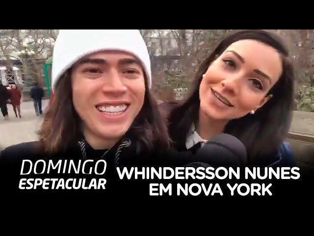 Domingo Espetacular mostra entrevista com Whindersson Nunes em Nova York