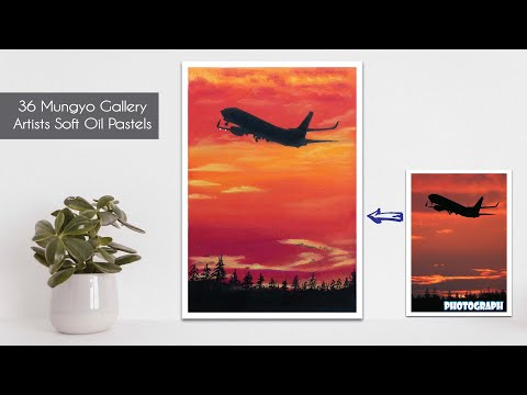 Fly to the Sunset / Easy Oil Pastels Painting for Beginners