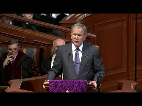 Former President George W. Bush gives words of remembrance at Zell Miller's funeral