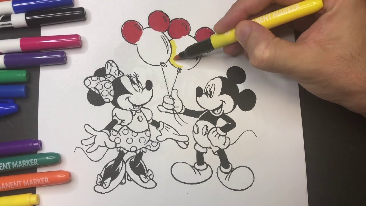 Mickey And Minnie Mouse Coloring Page For Kids Youtube