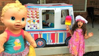 SALLY Pretend Play Selling Ice Cream Toys  from ice cream truck