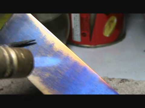 heat coloring titanium - YouTube