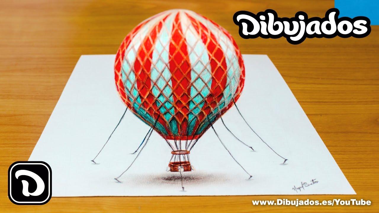 Dibujando un globo aerostático en 3D Dibujos en 3D