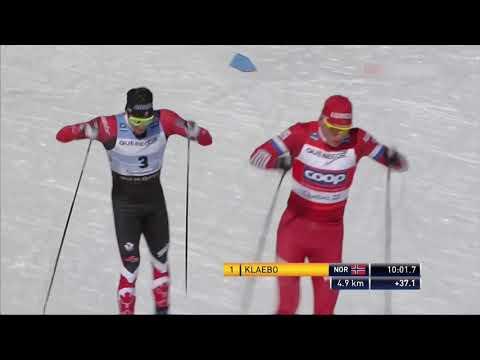 3 место Александра Большунова в преследовании 15 км свободным стилем. Главные моменты.