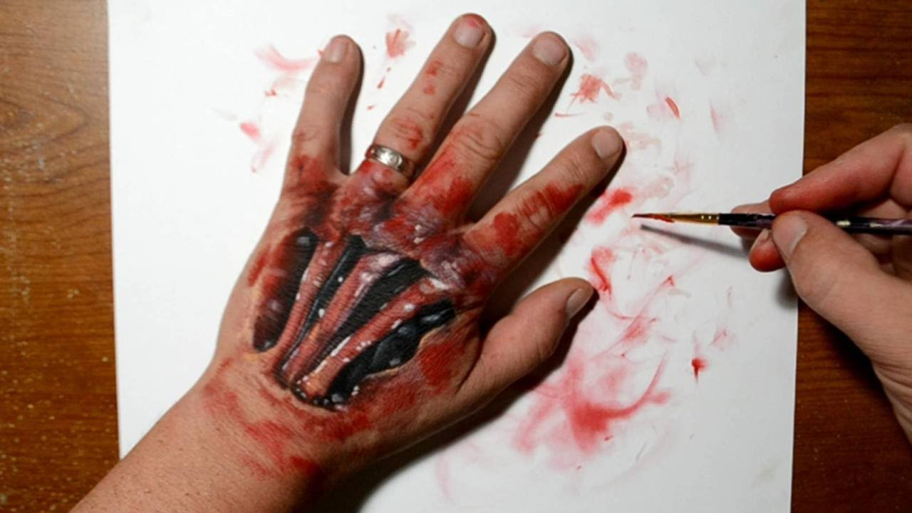 Horror painting on hand scary realistic trick art youtube for Watercolor paintings of hands