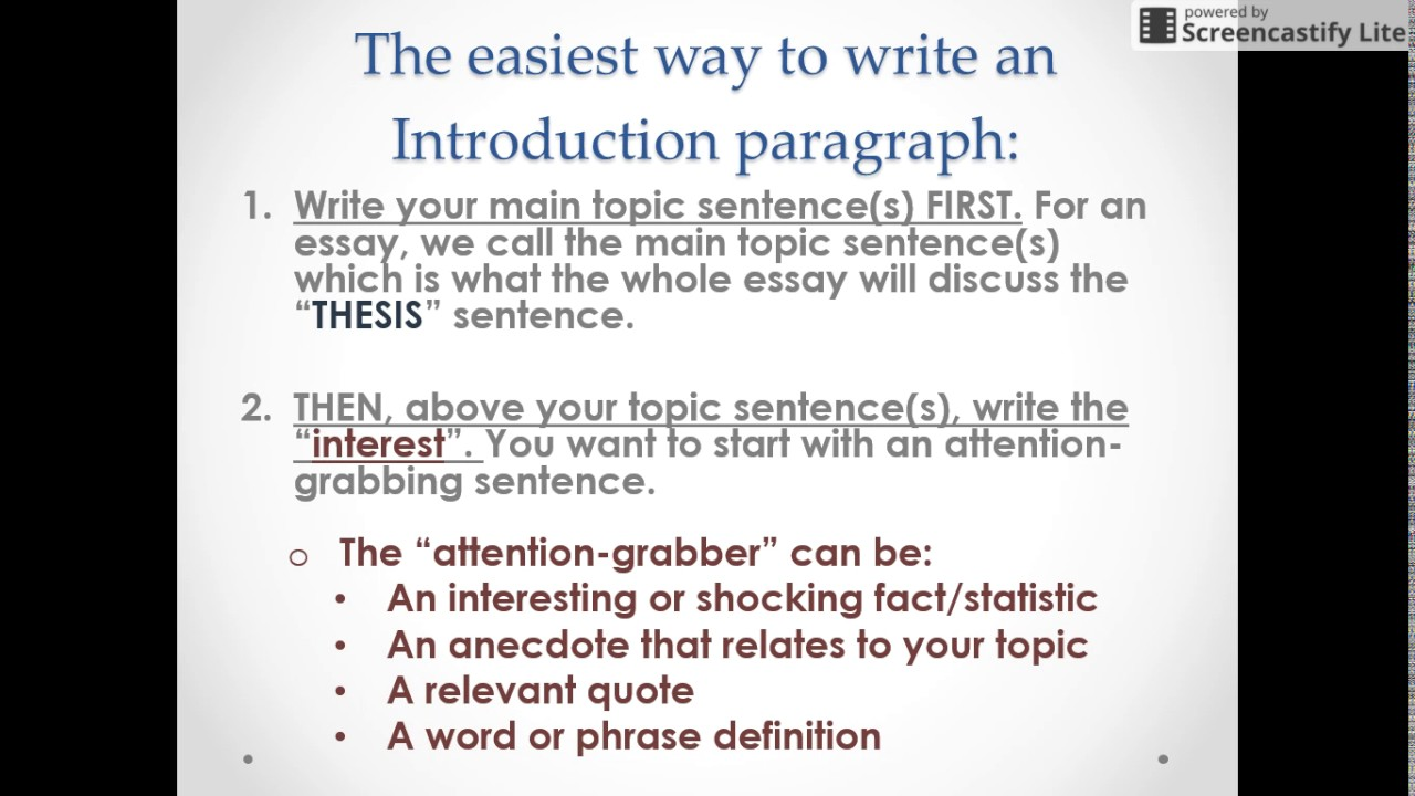 How to write an essay introduction paragraph