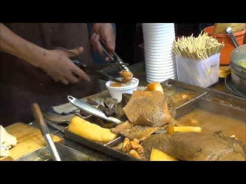 Hong Kong Street Food. Cooking a Beef Soup. Mong Kok, Kowloon