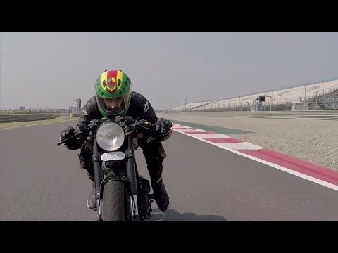 Gratuitous Slow Motion - Royal Enfield Cafe Racer on Race Track