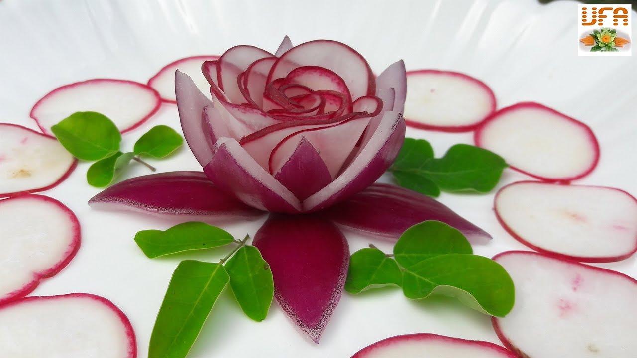 Beautiful Red Radish Rose Hiding In Red Onion Lotus Flower Garnish