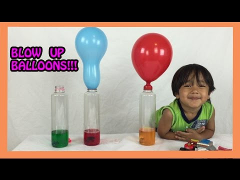 Thumbnail: Baking Soda and Vinegar Easy Science Experiments for kids BALLOON BLOW UP Ryan ToysReview