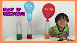 Baking Soda and Vinegar  Easy Science Experiments for kids BALLOON BLOW UP Ryan ToysReview