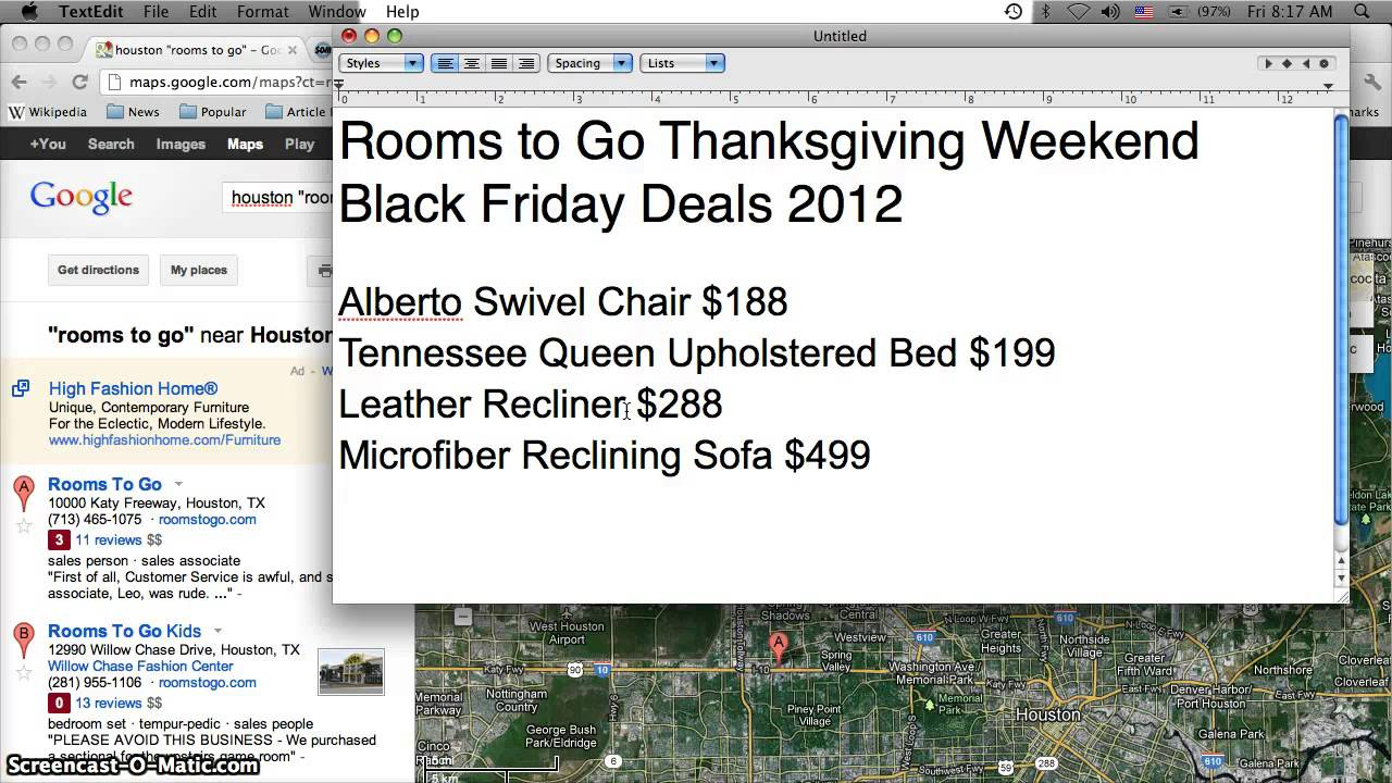 Rooms To Go Black Friday Furniture Sales 2012   Swivel Chair, Upholstered  Bed And Recliner