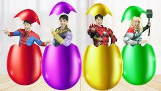 Wrong Superheroes weapons egg Puzzle 마슈!!! 슈퍼히어로 아이언맨 토르 변신 무기 맞추기 놀이 캡틴 아메리카 Mashu Vlog