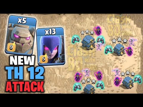 5 Max Golem + 13 Max Witch :: TH12 WAR 3 STAR ATTACK STRATEGY 2019 (Updated) | Clash of Clans