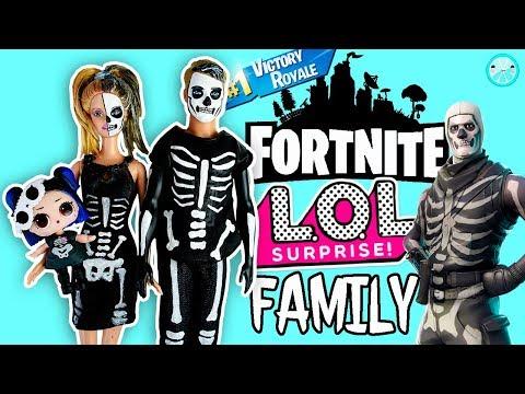 Skeleton LOL SURPRISE Family 💀 DIY Fortnite Skin Inspired Halloween Costume Tutorial