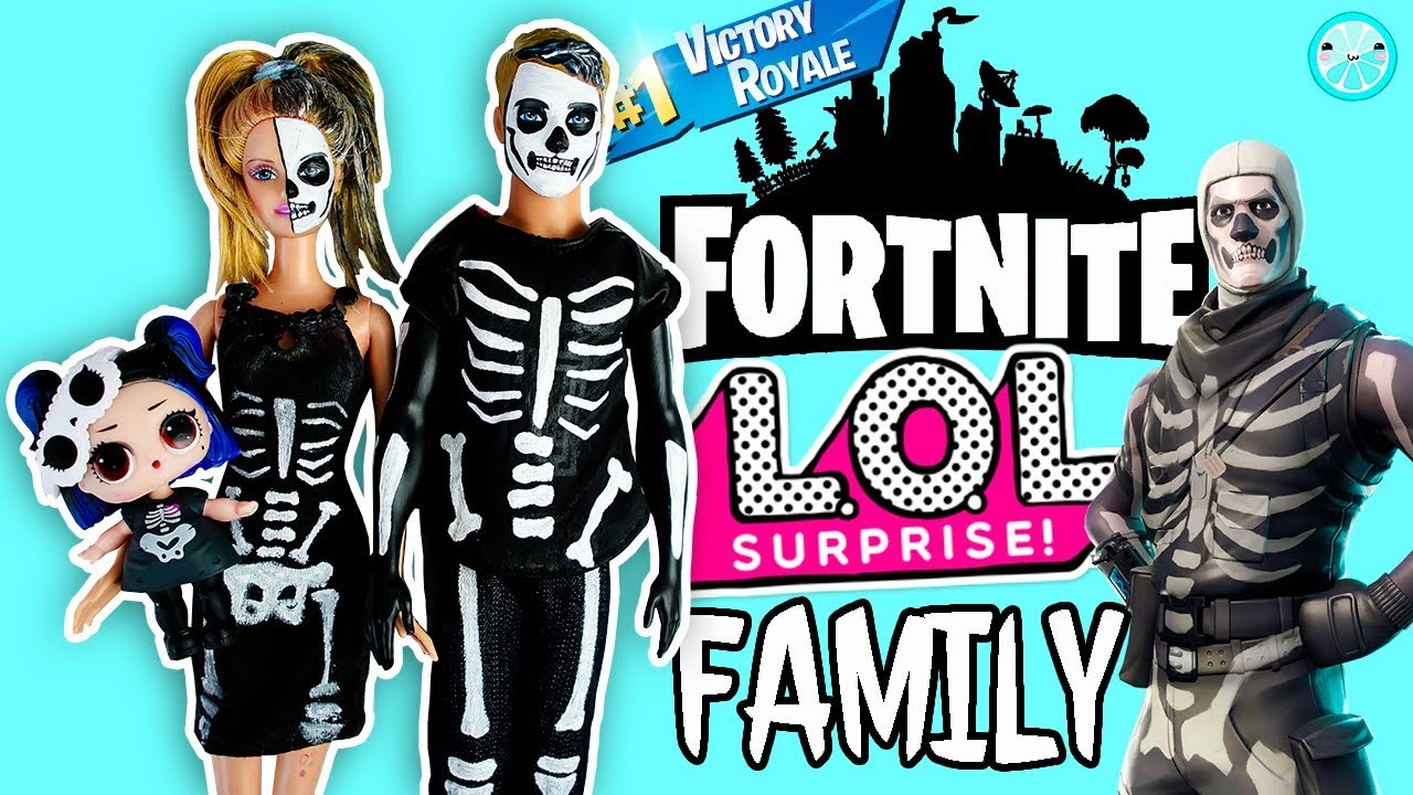 Skeleton Family Halloween Costumes.Skeleton Lol Surprise Family Diy Fortnite Skin Inspired Halloween Costume Tutorial
