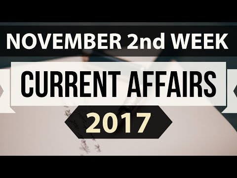 (English) November 2017 current affairs MCQ 2nd Week Part 1