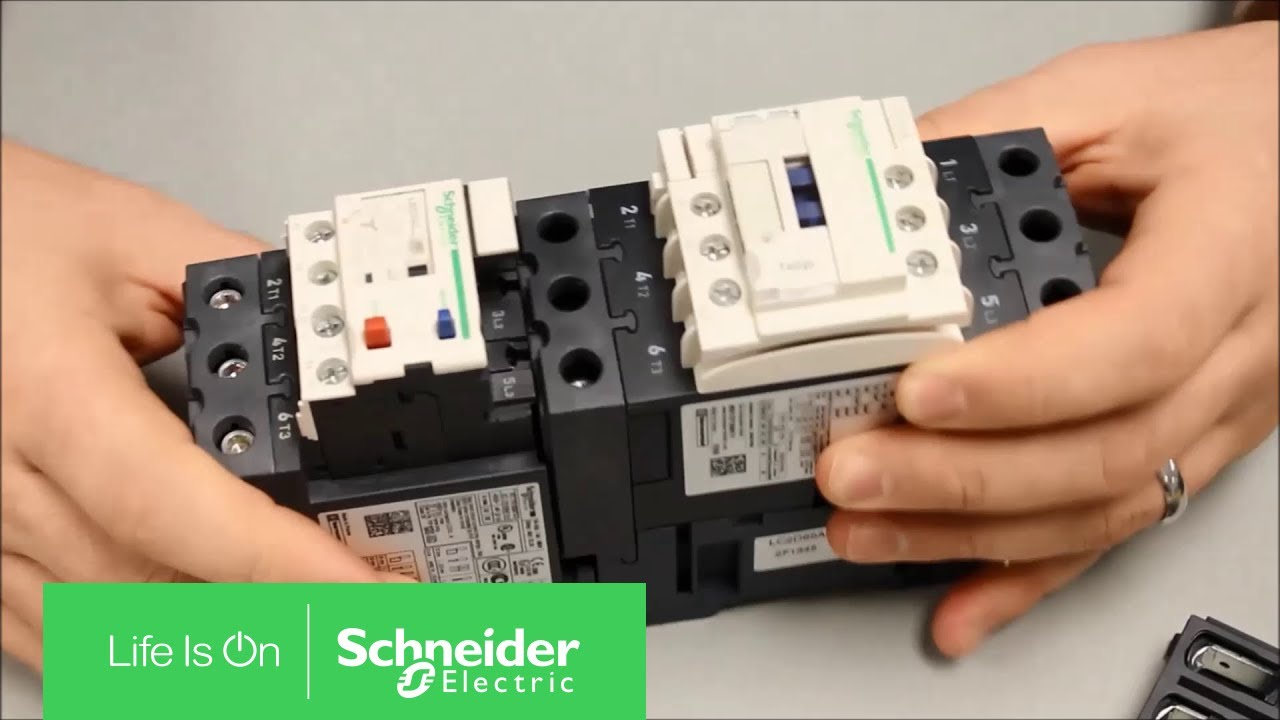mounting lrd overload relay to tesys d series contactor schneider rh youtube com Single Phase Motor Wiring Diagrams Telemecanique Contactor Wiring Diagram