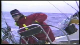 Sailing boat broaching in North Atlantic Ocean.