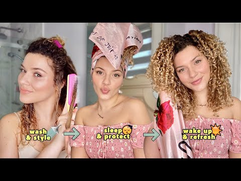 MY NIGHT TIME CURLY HAIR WASH ROUTINE (styling, sleep & refresh tips)