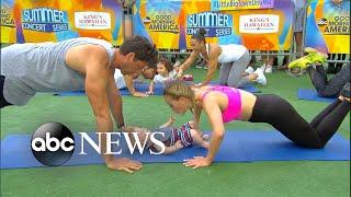 'Dancing' pros Maksim Chmerkovskiy and Peta Murgatroyd share family workout tips