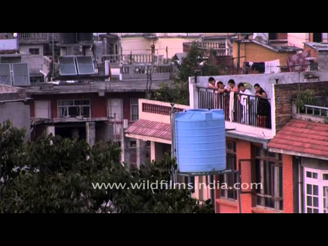 Nepali people looking down from a balcony in Kathmandu Travel Video