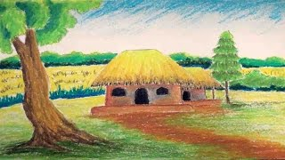 Pastel Tutorial | How to Draw a Village Landscape with Oil Pastels | Episode-8