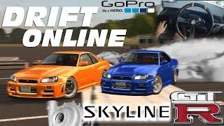 Nissan Skyline R34 Turbo TWIN DRIFT ft Getaway Driver - GoPro Wheel Cam G27 MOD ‹ Live For Speed ›