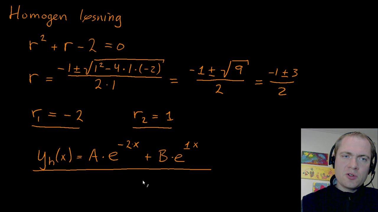 Anden ordens inhomogen differentialligning - eksempel