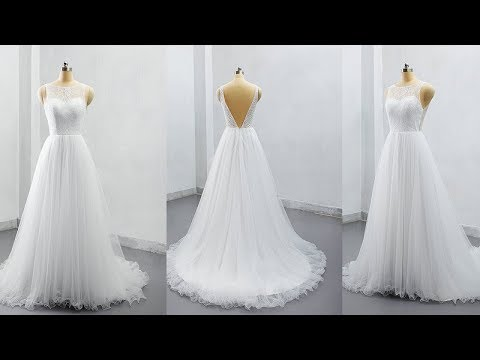 2e8cae18662c 2019 Elegant Lace and Tulle Wedding Dress Bridal Gown Zipper Back LR012