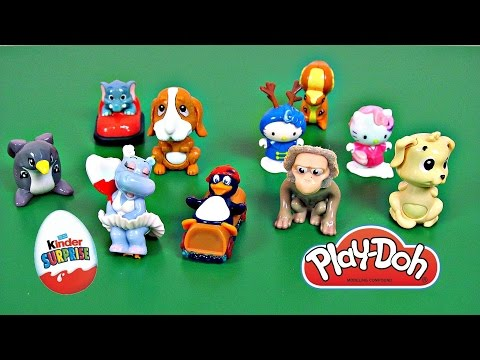 Play doh Kinder surprise egg toys kitty monkey pingu penguin hippo elephant doggy