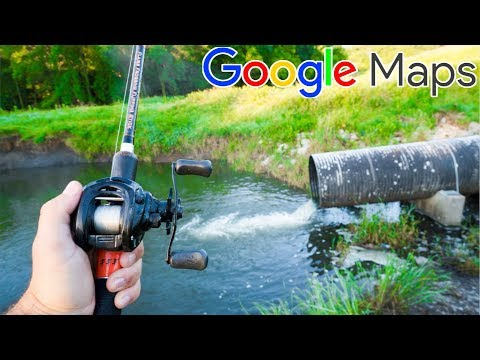 Fishing HIDDEN Drains using Google Maps!!! (LOADED with FISH)