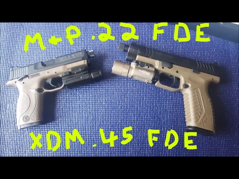 Springfield XDM .45 FDE Threaded Barrel and Smith & Wesson M&P .22 Compact FDE UNBOXING 2017