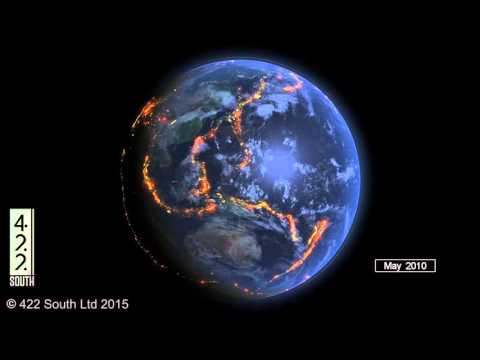World Earthquakes 2000 - 2015 Data Visualization [OC] [YouTube]
