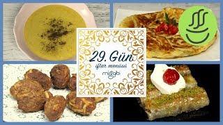Ramazan 29. Gün İftar Menüsü: Kıbrıs Köftesi - Sebze Çorbası - Tava Böreği - Cevizli Baklava