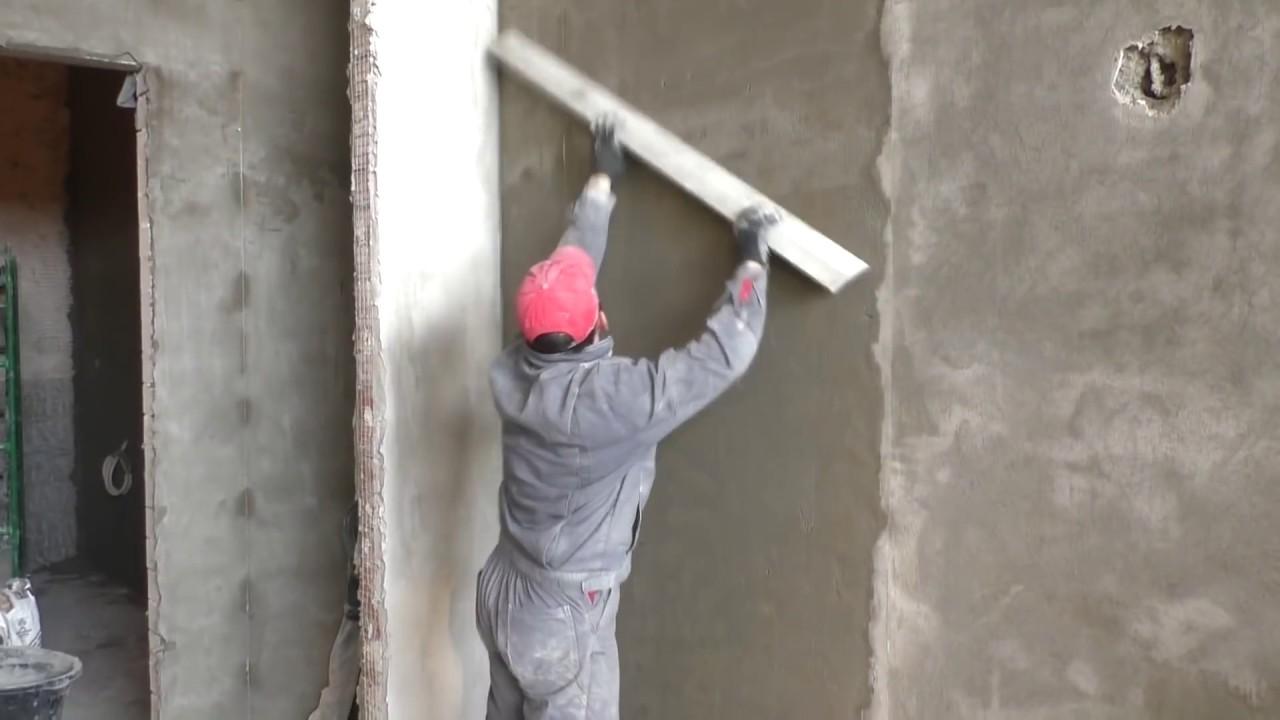 Как сделать качественную цементно-песчаную штукатурку? Все этапы.Машинное нанесение.